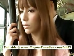 Miho Maeshima Chinese chick gets a jizm load on her glasses