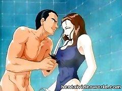 Showering anime girl gets possessed
