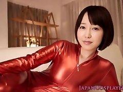 Cosplay catsuit Asuna Langley jizm drinking