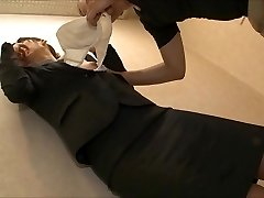unsure office chick being lick
