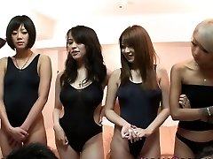 Japanese swimsuit honeys in orgy