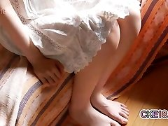 Hairy Japanese Teenager Trims Her Bush