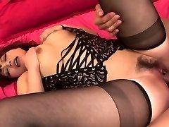 Damsel in hot black underwear has threesome for creampie finish