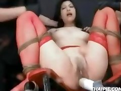 Asian In Stockings Tied Climax