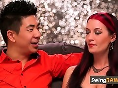 Asian stud satisfying his girlfriend the decent way
