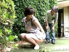 Japanese AV Model is a horny maid loving a hard romping