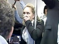Horny blond groped to multiple ejaculation on bus & torn up