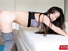 Half Korean Teenie Pokes Casting Agent In Yoga Pants