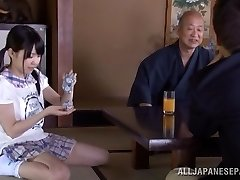 Petite Japanese nubile Marin Aono depthroats elder guy