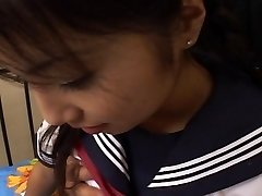 Japanese schoolgirl fucks and swallows