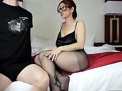 Hot mother footjob and cumshot