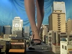 Huge japanese giantess, barefooted,sandals,many cars crushed each step