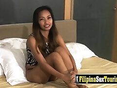 POV sex with a petite Filipina stunner with a kinky stranger and his big dick.