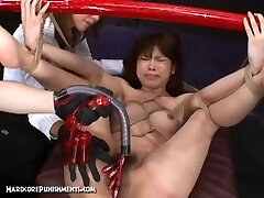Japanese Sex Slave Strapped To Bamboo Pole and Fucked Hard With Machines