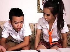 Japanese boy sucks off ladyboy study partner schoolgirl
