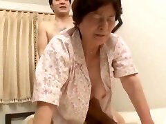 Chinese Granny fucks her 2 not step sons