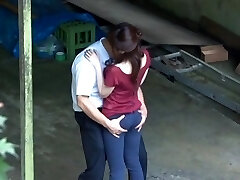 Horny, sensual and messy Asian couple making out and outdoor fucking