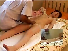Skinny young Asian chick lays on the bed and gets a ultra-cute relaxing massage
