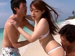Mayuka Akimoto loves dealing two knobs at the beach