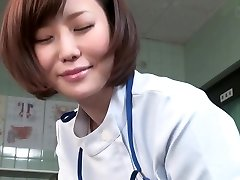 Subtitled CFNM Japanese nymph doctor gives patient hand job
