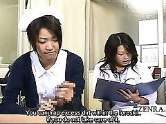 Subtitled CFNM Japanese milf physician and nurse hand job