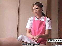Subtitled CFNM Chinese caregiver elder man handjob
