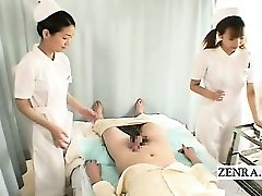 Subtitles CFNM two Japanese nurses hand-job with cumshot