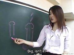 Subtitled Asian Akira Watase classroom blow-job lecture