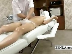Subtitled timid Japanese student first erotic massage