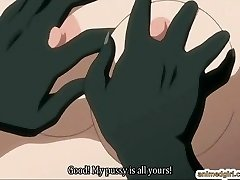Busty anime hard drilled by lizard monster