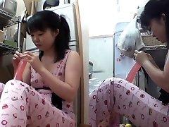 Asian teen slams dildo