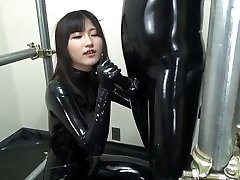 Asian blowjob in full protection