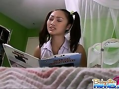 Pigtailed naughty sitter Evelyn Ling getting pounded by