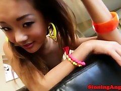 Glorious glamour asian petite babe pov deep throat