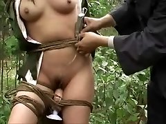 Chinese army girl roped to tree 3