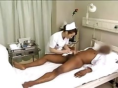 Asian nurses drain ebony cock