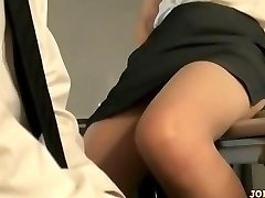 Office Lady In Pantyhose Riding On Dude Face Finger-tickled On The Floor In The Of