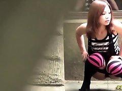 Japanese slut piss squats