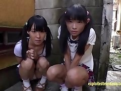 Diminutive Jav Nubile College Girls Rina And Asami Give Public BJ And Piss