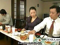 Subtitled weird Asian bottomless no panties family