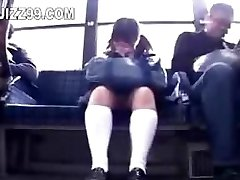 college girl lured leg fucked by geek on bus