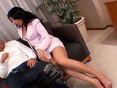 Whorish Asian secretary wanks her pussy right in front of her boss