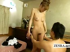 Japanese newhalf shemale is stripped nude with deep throat