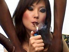 Russian Hooker Lyuba B smoking cigar with Big Black Cock