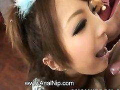 Asian schoolgirl smoking small sausage