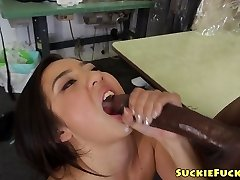 Asian tiny babe deep-throating on two BBCs in trio