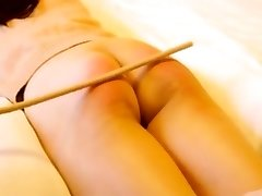 Asian amateur caning with slave Niu