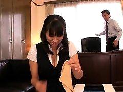 Japanese mature Hana Haruna spanked on desk