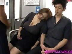 Big jugs asian fucked on train by two guys