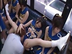 Horny Japanese cheerleaders in a warm group sex tear up for all